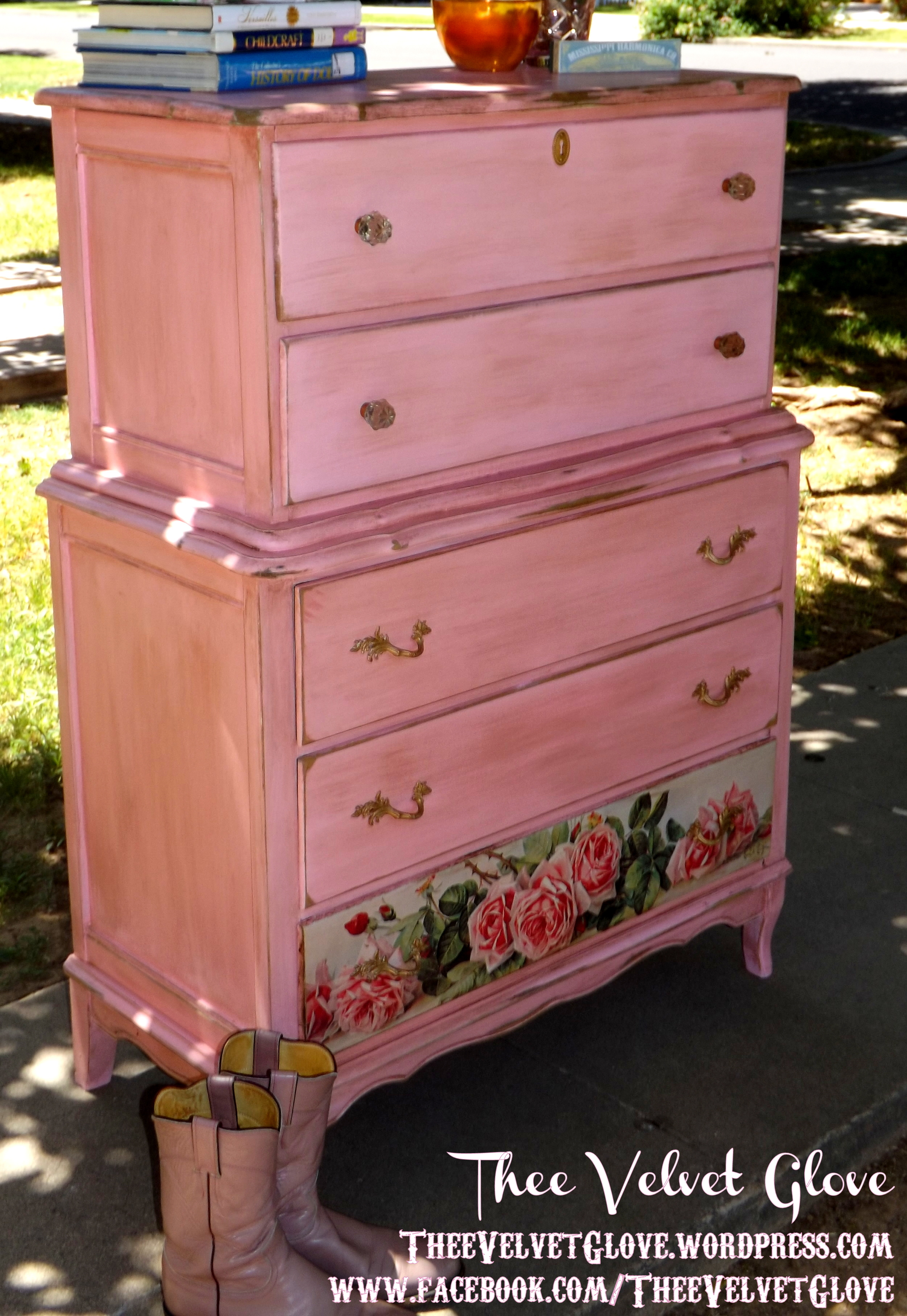calamity jane distressed pink tallboy chest of drawers. Black Bedroom Furniture Sets. Home Design Ideas