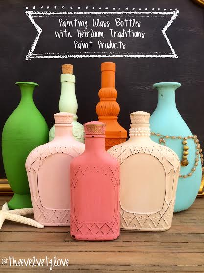 Easy spring decor painting and distressing glass bottles for What kind of paint to use on glass